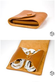 Iphone5 earphone & cable leather pouch used Italian vegetable leather  Out side : Art.Ahpha Pixed cable: Art.Dakota miroarte.kr