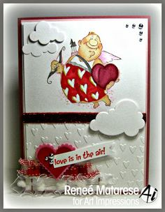 Happy Valentine's Day card. Art Impressions Valentine stamp called Val Set (Sku#4214).  Love this crazy cupid! ... hearts and clouds