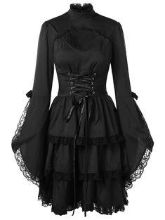 Witchy Dress, Goth Dress, Black Witch Dress, Black Gothic Dress, Gothic Lolita Dress, Black Lace Dresses, Punk Dress, Dress Black, Mantel Elegant