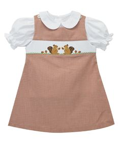 Another great find on #zulily! Brown Squirrel Smocked Jumper & Top - Toddler & Girls by Smocked Giraffe #zulilyfinds