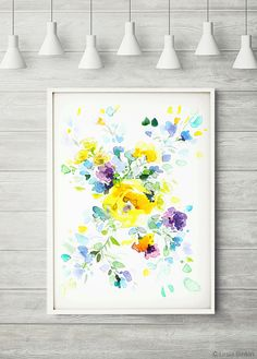 Sunny Day, watercolor flower print, abstract painting, colorful art, floral wall decor, watercolor floral print, purple flowers