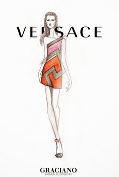 GRACIANO fashion illustration: VERSACE SPRING 2015 #MFW