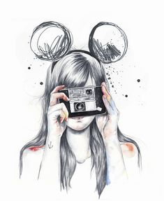 Best. Drawing. Ever. This is totally me at the Disney parks, snapping a photo with my favorite camera. <3