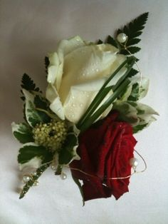 Lovely bling Red and ivory groom buttonhole x