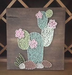 Cactus cadena arte vivero decoración pared rústica arte #GirlsBedroom