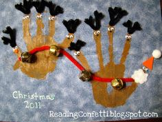 Santa and Reindeer Handprint Craft