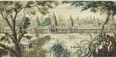 """Vue idéale d'Angkor Vat """"à vol d'oiseau dans la forêt"""". Louis Delaporte (vers 1868). Mine graphite, aquarelle, gouache et rehauts de gomme a..."""