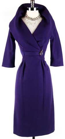 50s Purple Wool Cape Collar Cocktail Dress
