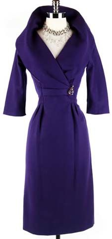50s Purple Wool Cape Collar Cocktail Dress. 1950's dress. * Royal purple wool blend * Dramatic cape collar * Rhinestone pin * Metal back zipper