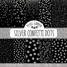 Instand download black and silver glitter confetti digital paper pack. This festive digital paper set will be perfect for Christmas season