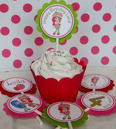12 Strawberry Shortcake Birthday Party by sweetheartpartyshop, $10.00