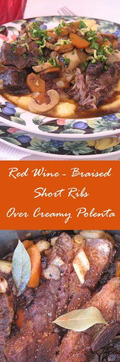 ... short ribs over creamy polenta red wine braised short ribs over creamy