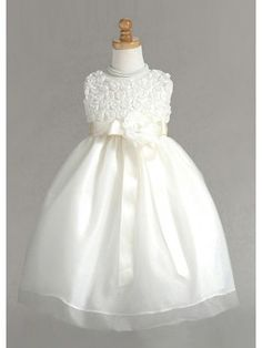 THIS IS ONE I LIKE VERY MUCH.  Ivory Detailed Rosebuds Organza Flower Girl Dress Infants to Girl Dress Size10