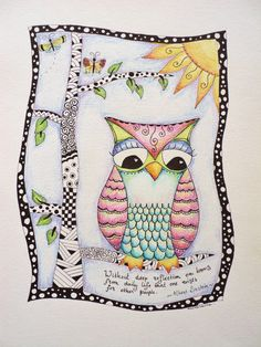 Owl drawing, zentangle, original drawing, pen and colored pencil. €16.50, via Etsy.