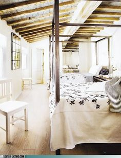 A cool idea for a large guest bedroom or a older girl's room they share with a sister.
