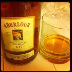 Drinking Aberlour 16 year old highland single malt scotch.