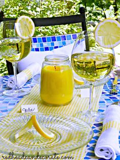 Lemon Themed Tablescape - Redhead Can Decorate