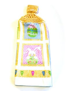 Easter Hand Towel With Cornmeal Crocheted Top by MeAndMomsCrafts