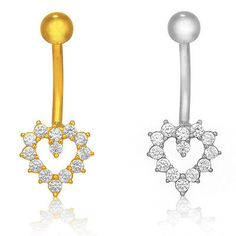 Body Piercing Jewelry 32050: 14K Real White Or Yellow Gold Belly Button Open Heart Cz Navel Ring Body Jewelry BUY IT NOW ONLY: $61.84