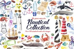 Giant Watercolor Nautical Collection Nautical Clip Art