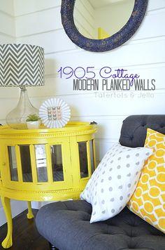 DIY Modern Planked Walls at Tatertots and Jello!  Blue and Yellow Coastal theme