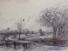 """Dumrong Jornrutn """" The Thai field near small canal at the border village """", drawing  pencil on paper 2012."""