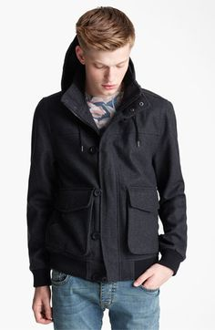 Nice... Topman Hooded Wool Blend Bomber Jacket available at #Nordstrom