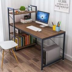 Buy Tower Computer Desk with 4 Tier Shelves - Multi Level Writing Study Table with Bookshelves Modern Steel Frame Wood Desk Compact Home Office Workstation (Walnut) Modern Home Office Desk, Home Office Table, Home Desk, Home Office Furniture, Desk Office, Study Office, Computer Desk With Shelves, Bookshelf Desk, Pc Desk