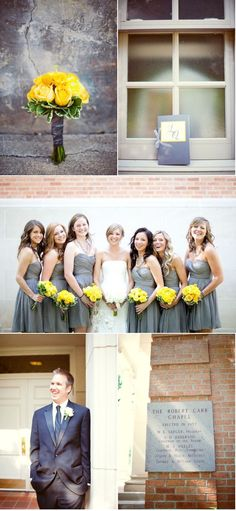 Yellow + grey wedding