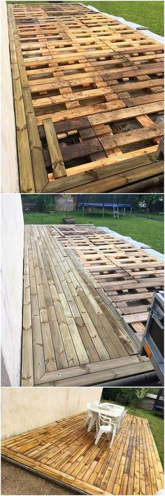 This is one of the amazing idea of using the recycle wood pallet material in the garden terrace view as for the house garden areas This idea is all comprised with the alt. Recycled Pallets, Recycled Wood, Wooden Pallets, Diy Pallet Projects, Wood Projects, Pallet Ideas, Wood Ideas, Pallet Decking, Pallet Furniture Designs