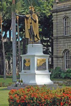 Statue of King Kamehameha I ~ Opposite the Iolani Palace in Honolulu, Hawaii.
