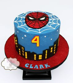 Spiderman Cake Ideas for Little Super Heroes - Novelty Birthday Cakes Spiderman Birthday Cake, 4th Birthday Cakes, Superhero Cake, Marvel Cake, Batman Cakes, Ideas Decoracion Cumpleaños, Cupcakes, Cupcake Cakes, Cake And Cupcake Stand