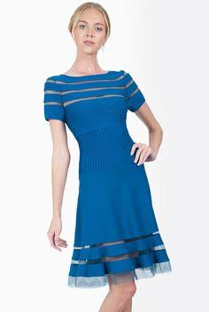 Blue Short Sleeve Striped Hollow Dress US$79.90