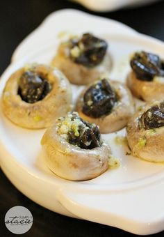 Escargots in Mushroom Caps with Garlic Butter - one of my fave appetizers!