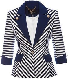 Nissa - Navy Stripe Blazer With Contrast Lapel Latest African Fashion Dresses, African Print Dresses, Lawyer Outfit, Iranian Women Fashion, Mode Mantel, Blazer Jackets For Women, Striped Blazer, Womens Fashion For Work, Work Attire
