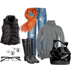 Depth of winter outfit for us Floridians! lol  Love the pop of orange... just noticed the glasses! Cool! They look just like my new ones. :-)