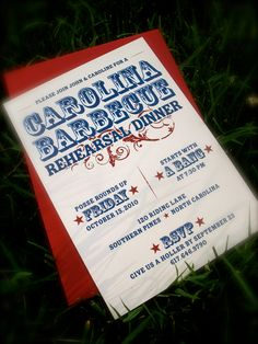 Printable Rehearsal Dinner, Engagement Party, or Couples Shower Invitation -- Backyard Barbecue, Classic Western. $15.00, via Etsy.