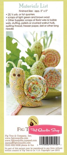 Escargot Sewing Pattern Fig Tree Threads Pattern - Fat Quarter Shop