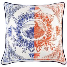 Bivain - Lady Silk Cushion (290 BAM) ❤ liked on Polyvore featuring home, home decor, throw pillows, silk flower wreaths, flower wreath, blue wreath, leaf wreath and red accent pillows