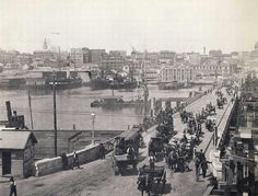 Copy of photo Darling Harbour, Sydney with horse drawn carts on Pyrmont Bridge. Paris Skyline, New York Skyline, Sydney New South Wales, Darling Harbour, Historical Images, Australia Travel, Old Photos, Places To See, Bridge