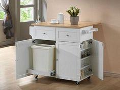 Coaster 900558 Rubberwood White Kitchen Cart w/ Spice Rack