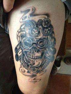 Totenkopf Bein Steampunk Tattoo Maschine Zahnrad