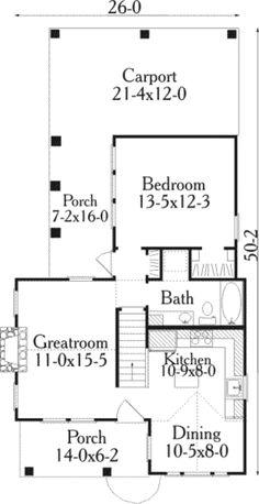 Cottage Style House Plan - 1 Beds 1 Baths 852 Sq/Ft Plan #406-215 Floor Plan - Main Floor Plan - Houseplans.com