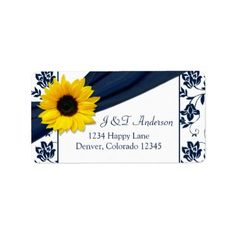 Sunflower Navy Damask Wedding Return Address Label Sunflower navy or marine blue and white damask floral wedding return address labels to be used for your wedding invitations and reply cards, or just use it as a pretty general retu...