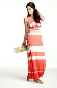 Cynthia Steffe Bailey Ruffled Stripe Maxi Dress