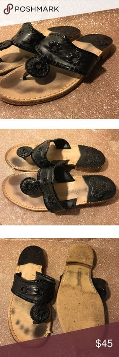 Jack Rogers Black 8 Black Jack Rogers size 8! Worn and footprint showing but when worn not noticeable! Glossy black out line and matte black in the middle! Not interested in trade :) Jack Rogers Shoes Sandals
