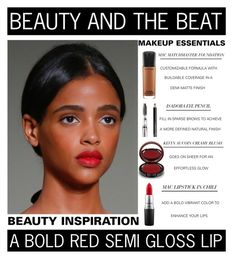 """""""Beauty And The Beat - A Bold Red Semi Gloss Lip"""" by latoyacl ❤ liked on Polyvore featuring beauty, MAC Cosmetics, Isadora and Kevyn Aucoin"""