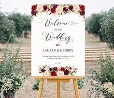 Printable Wedding Welcome Sign Templates, Floral Wedding Sign, Burgundy Rose Wedding Large Poster 24x36 18x24, DIY PDF Instant Download #101