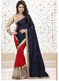 Blue Red Georgette Half And Half Saree  #half and half saree #half saree #casual sarees #indian sare #chennai online shopping
