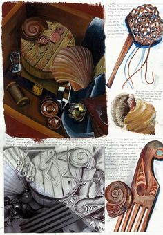 An amazing sketchbook page by fifteen year old Nikau Hindin